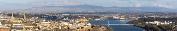 "panoramic view of Londonderry as see from the serviced apartment ""The View"""